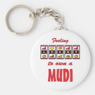 Lucky to Own a Mudi Fun Dog Design Basic Round Button Keychain