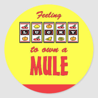 Lucky to Own a Mule Fun Design Classic Round Sticker