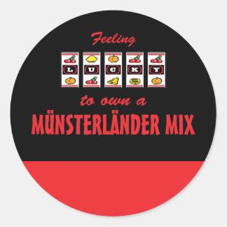 Lucky to Own a Münsterländer Mix Fun Dog Design Classic Round Sticker