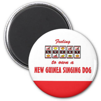 Lucky to Own a New Guinea Singing Dog Fun Design 2 Inch Round Magnet
