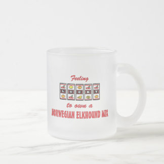 Lucky to Own a Norwegian Elkhound Mix Fun Design Frosted Glass Coffee Mug