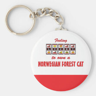 Lucky to Own a Norwegian Forest Cat Fun Cat Design Keychain