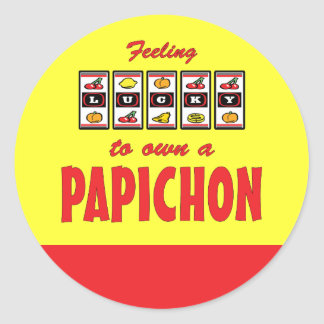 Lucky to Own a Papichon Fun Dog Design Classic Round Sticker