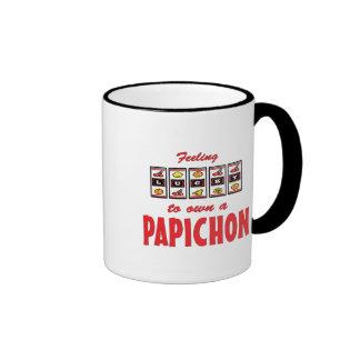 Lucky to Own a Papichon Fun Dog Design Ringer Mug
