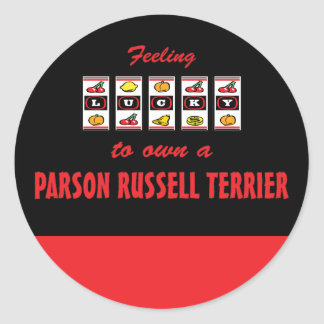 Lucky to Own a Parson Russell Terrier Fun Design Round Stickers