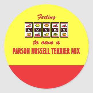 Lucky to Own a Parson Russell Terrier Mix Classic Round Sticker