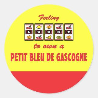 Lucky to Own a Petit Bleu de Gascogne Fun Design Classic Round Sticker