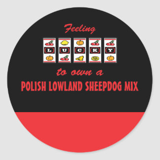 Lucky to Own a Polish Lowland Sheepdog Mix Classic Round Sticker