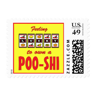 Lucky to Own a Poo-Shi Fun Dog Design Postage Stamps