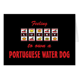 Lucky to Own a Portuguese Water Dog Fun Dog Design Greeting Card