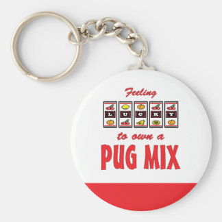 Lucky to Own a Pug Mix Fun Dog Design Keychain
