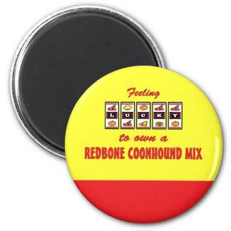 Lucky to Own a Redbone Coonhound Mix Fun Design 2 Inch Round Magnet