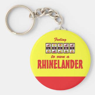 Lucky to Own a Rhinelander Fun Horse Design Basic Round Button Keychain
