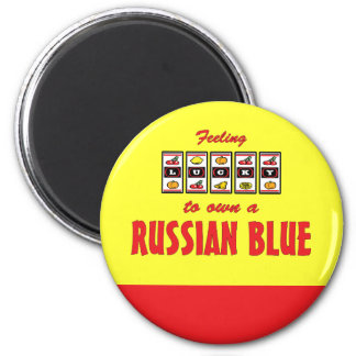 Lucky to Own a Russian Blue Fun Cat Design 2 Inch Round Magnet