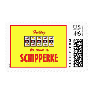 Lucky to Own a Schipperke Fun Dog Design Postage Stamps