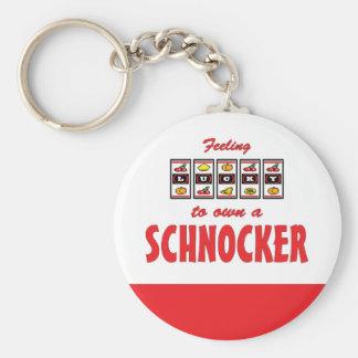 Lucky to Own a Schnocker Fun Dog Design Basic Round Button Keychain