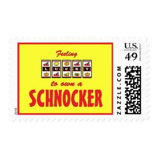 Lucky to Own a Schnocker Fun Dog Design Postage
