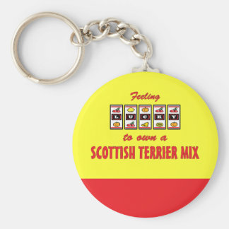 Lucky to Own a Scottish Terrier Mix Fun Dog Design Keychain