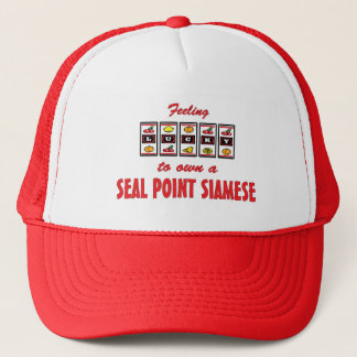 Lucky to Own a Seal Point Siamese Fun Cat Design Trucker Hat
