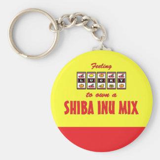 Lucky to Own a Shiba Inu Mix Fun Dog Design Basic Round Button Keychain