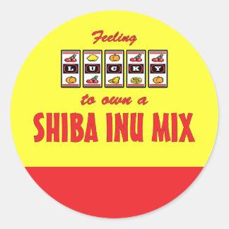 Lucky to Own a Shiba Inu Mix Fun Dog Design Classic Round Sticker