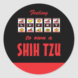 Lucky to Own a Shih Tzu Fun Dog Design Round Stickers