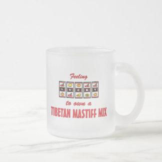 Lucky to Own a Tibetan Mastiff Mix Fun Dog Design Frosted Glass Coffee Mug