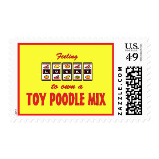 Lucky to Own a Toy Poodle Mix Fun Dog Design Postage