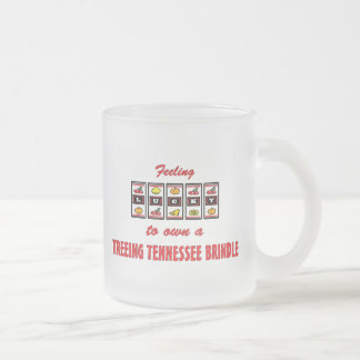 Lucky to Own a Treeing Tennessee Brindle Frosted Glass Coffee Mug