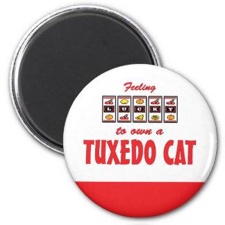 Lucky to Own a Tuxedo Cat Fun Cat Design Refrigerator Magnet