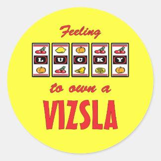 Lucky to Own a Vizsla Fun Dog Design Classic Round Sticker
