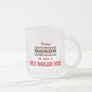 Lucky to Own a West Highland Doxie Fun Dog Design 10 Oz Frosted Glass Coffee Mug