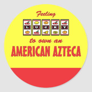 Lucky to Own an American Azteca Fun Horse Design Classic Round Sticker