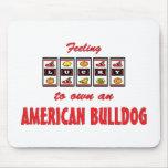 Lucky to Own an American Bulldog Fun Dog Design Mousepad