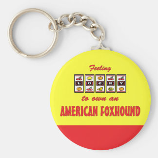 Lucky to Own an American Foxhound Fun Dog Design Keychain