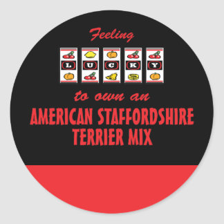 Lucky to Own an American Staffordshire Terrier Mix Classic Round Sticker