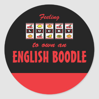 Lucky to Own an English Boodle Fun Dog Design Classic Round Sticker