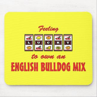 Lucky to Own an English Bulldog Mix Fun Dog Design Mouse Pad