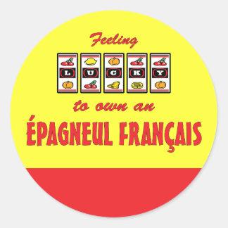 Lucky to Own an Épagneul Français Fun Dog Design Classic Round Sticker