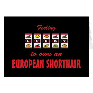 Lucky to Own an European Shorthair Fun Cat Design Card