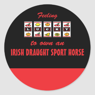 Lucky to Own an Irish Draught Sport Horse Classic Round Sticker
