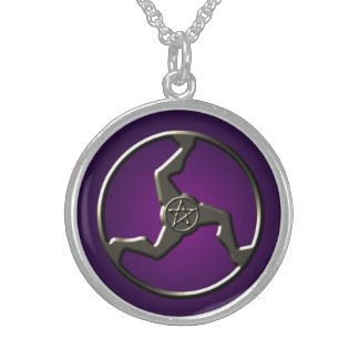 Lucky Triskelion with Pentacle Sterling Silver Necklace