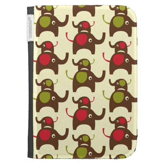 Lucky two elephants cute elephant nature pattern kindle case