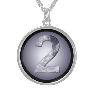 Lucky Two Lunar Circle Black Border Goddess Number Sterling Silver Necklace