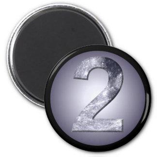 Lucky Two Lunar Symbol Power Number Black Border Refrigerator Magnets
