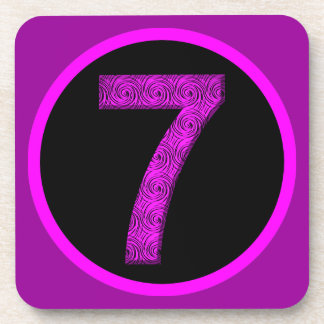 Lucky Vibrational Seven Magenta Purple Coasters