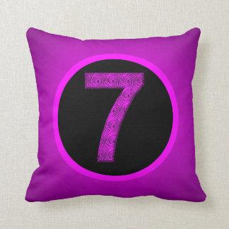 Lucky Vibrational Seven Magenta Purple Pillow