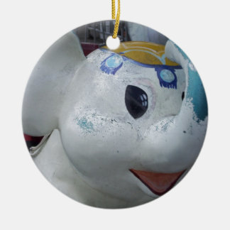 Lucky Vintage Amusement Park Elephant  Ride Double-Sided Ceramic Round Christmas Ornament