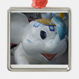 Lucky Vintage Amusement Park Elephant  Ride Square Metal Christmas Ornament