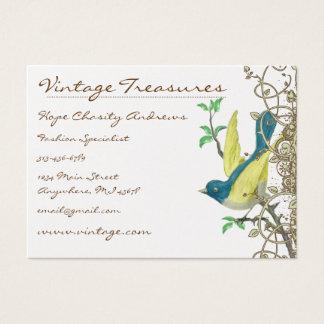 Lucky Vintage Bluebirds Swirl Design Business Card